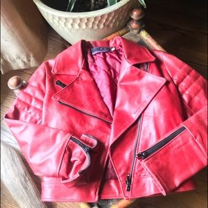 Red leather Moto jacket w/quilted lining Italy 42
